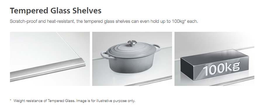 Tủ lạnh Hitachi R-FG560PGV8X(GBK) sử dụng Khay ngăn bằng kính chịu lực