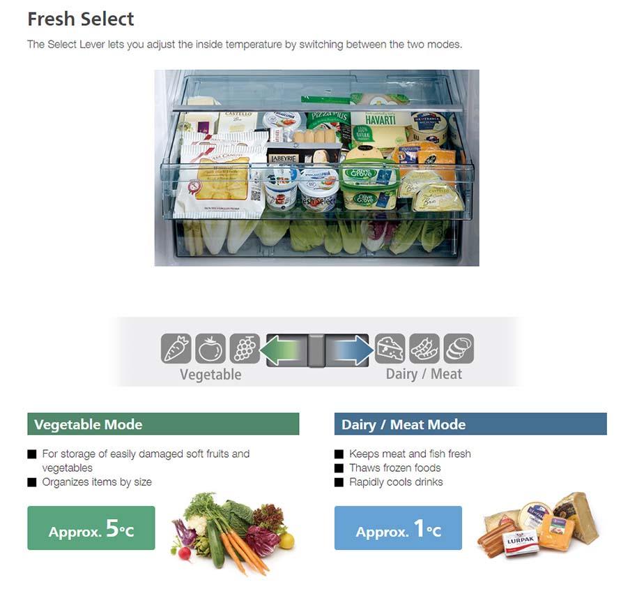 Tủ lạnh Hitachi R-FG560PGV8X(GBK) cho phép chuyển đổi 2 chế độ bảo quản dễ dàng