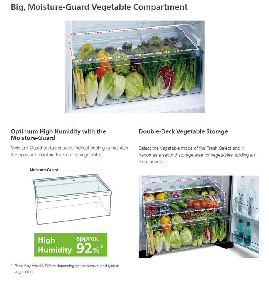 Tủ lạnh Hitachi R-FG560PGV8X(GBK) Giữ ẩm cho rau củ đến khoảng 92% với ngăn rau củ chuyên biệt