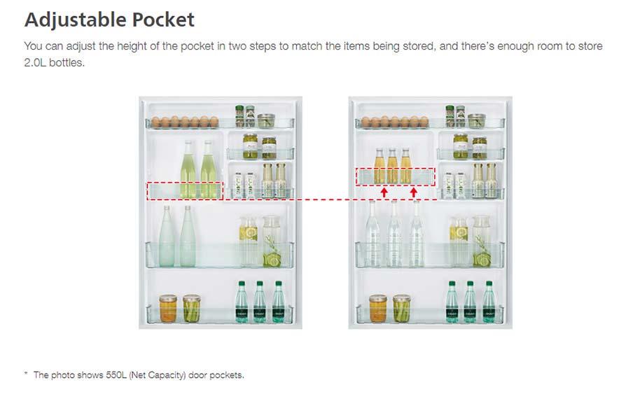 Tủ lạnh Hitachi R-FG560PGV8X(GBK) Thay đổi sắp xếp các ngăn, khay dễ dàng