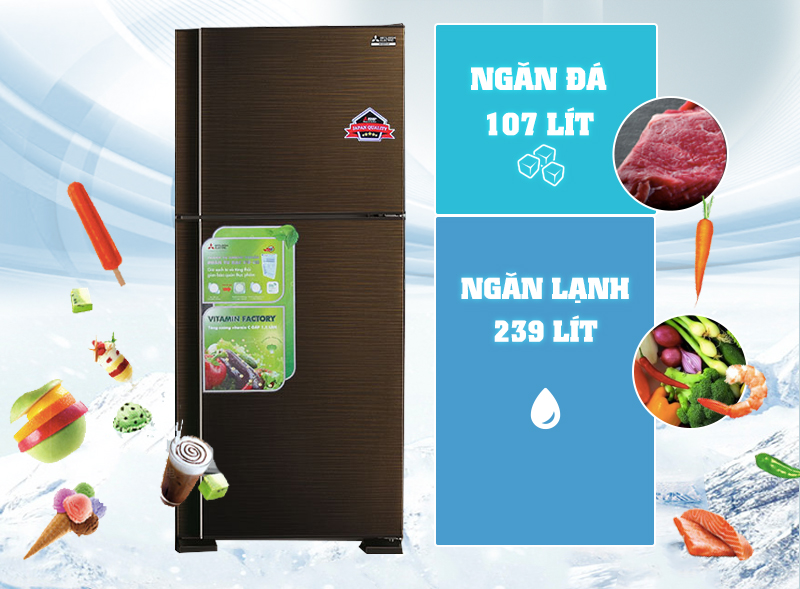 Tủ lạnh Mitsubishi Electric MR-F42EH-BRW với màu nâu gương lạ mắt