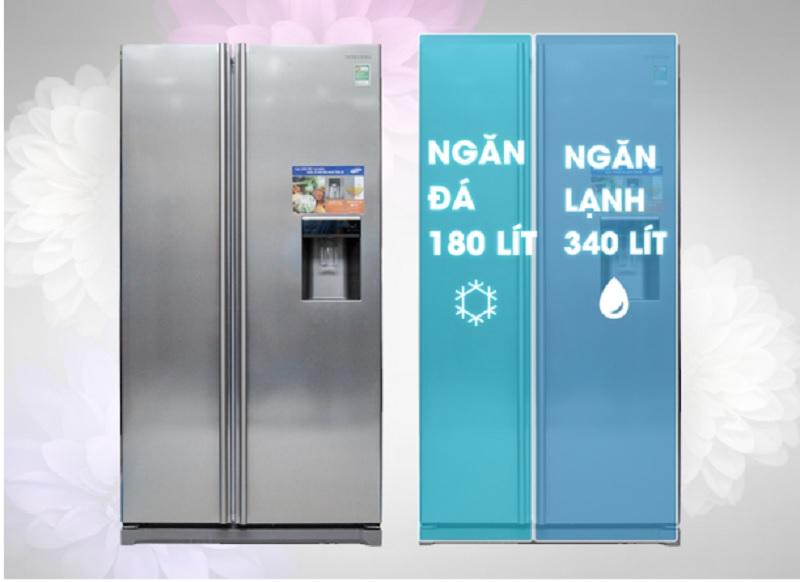 Dung tích 520 lít của chiếc tủ lạnh Samsung này giúp cho nó có thể làm lạnh tốt cho lượng thực phẩm của cả gia đình có trên 7 thành viên