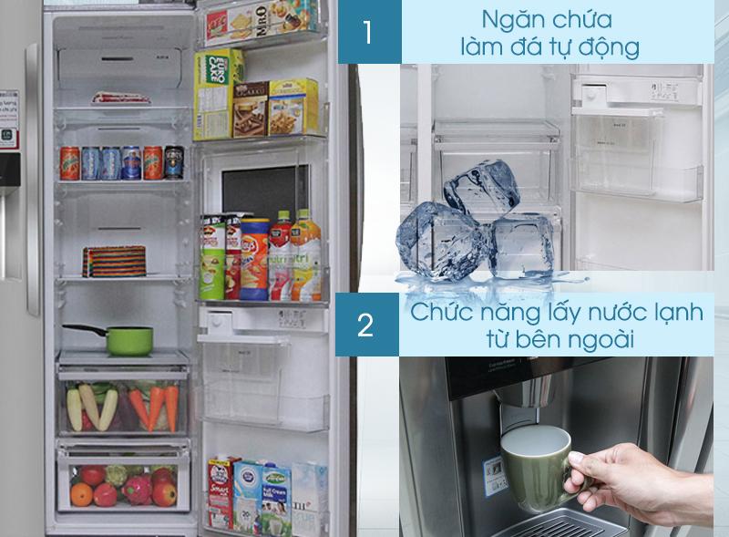 Nay, bạn đã có thể lắp đặt tủ ở bất cứ nơi nào mình muốn với hệ thống làm đá và nước từ bình chứa trong của tủ lạnh LG GR-P227GS