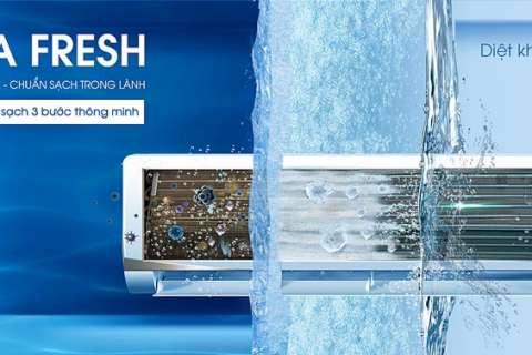 Cộng nghệ AQUA FRESH của máy lạnh Aqua trong lành sạch khuẩn bằng một nút chạm