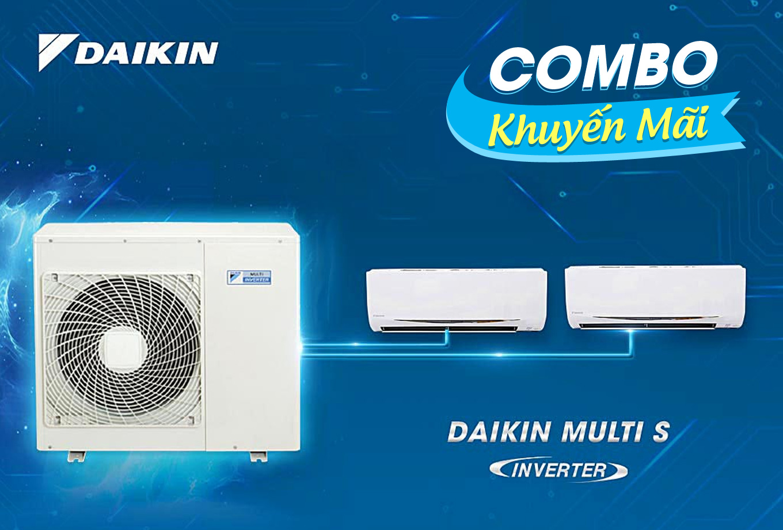 (Combo khuyến mãi) Hệ thống máy lạnh Daikin multi s inverter 2.0HP - 1 dàn nóng 2 dàn lạnh (1.0 + 1.0Hp) MKC50RVMV-CTKC25RVMV+CTKC25RVMV
