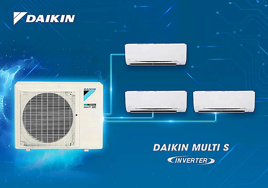(Combo khuyến mãi) Hệ thống máy lạnh Daikin Multi S inverter 3.0Hp - MKC70SVMV-CTKC25RVMV+CTKC25RVMV+CTKC25RVMV