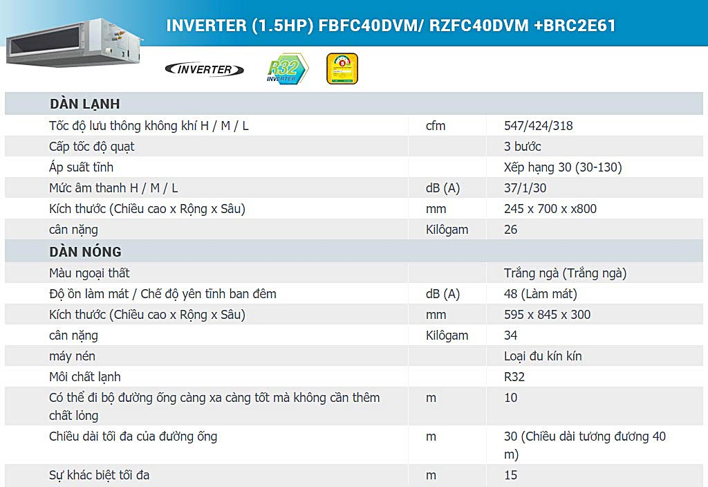 may-lanh-giau-tran-noi-ong-gio-daikin-inverter-15hp-fbfc40dvmrzfc40dvm-brc2e61-thong-so