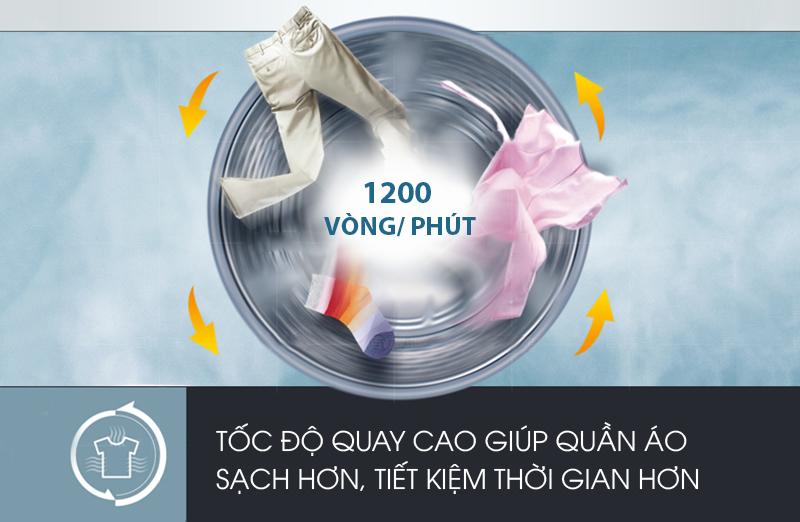 tốc độ quay cao của máy giặt electrolux ewf12843