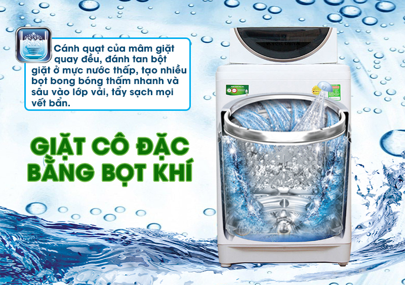 Tính năng giặt cô đặc bằng bọt khí của máy giặt Toshiba AW-A800SV WB đánh tan bột giặt